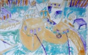 (Abb. 3) Der erste Malvorgang, aus Sicht des Künstlers, mit untergelegter Zeichnung