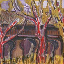 Fekete: Drei Bäume, drei Pforten. Aquarell und Gouache, 1952 (Foto: Horst Bathon)